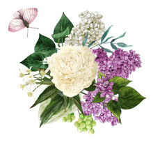 Watercolor Lilac Flowers And Leaves.