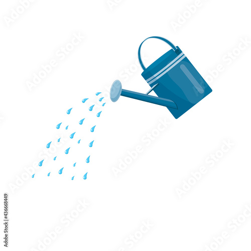 Fotografie, Obraz Blue watering can with water
