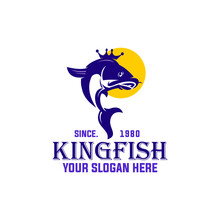 KING FISH LOGO, Silhouette Of Purple Salmon With Crown Vector Illustrations