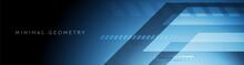 Dark Blue Tech Geometric Abstract Minimal Background. Vector Banner Design