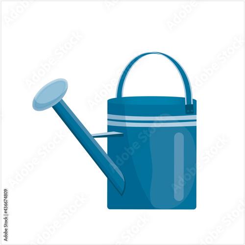 Fototapeta blue metal garden watering can on white background