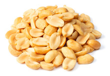 Pile Of Roasted Peeled Peanuts Isolated On White Background