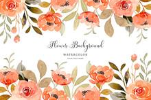 Watercolor Orange Rose Flower Background
