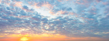 Delicate Panorama Of  Sunset  Sunrise Sundown Sky With Colorful Clouds