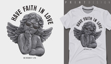 Graphic T-shirt Design, Love Slogan With Antique Baby Angel In Sunglasses,vector Illustration For T-shirt.