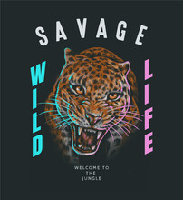 Typography Slogan With Hand Drawn Leopard,vector Illustration For T-shirt.