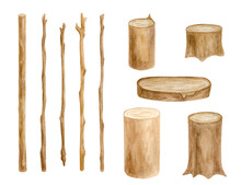 Watercolor Wood Sticks And Stumps Set. Hand Drawn Tree Branches, Wooden Slice Isolated On White. Bare Twigs Decoration, Rustic Natural Eco Style Design.
