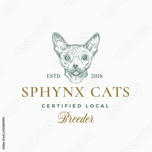 Fotografie, Obraz Cat Breeder Badge or Logo Template
