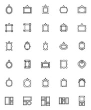 Blank Picture Frames Line Icons Set