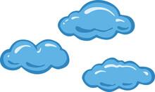 Blue Cumulus Cartoon Clouds Icon. Vector.