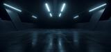 Fototapeta Perspektywa 3d - Underground Concrete Hangar Tunnel Garage Realistic Background Showroom Sci Fi Futuristic Modern Grunge Alien Warehouse Hallway Asphalt Dark Lights 3D Rendering