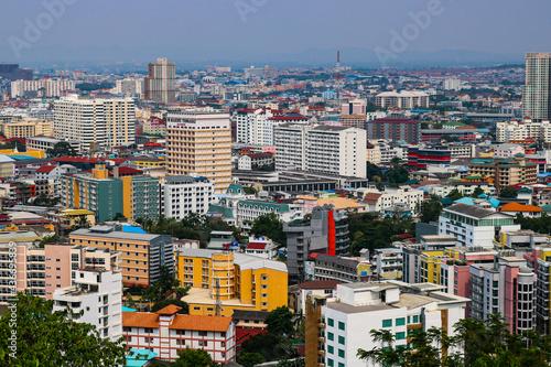 Obraz na plátně the colours of Pattaya city from viewpoint