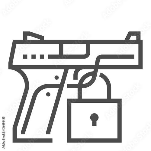 Slika na platnu Civil gun square line vector icon.