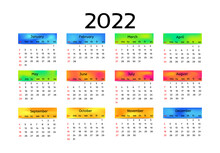 Calendar For 2022 Isolated On A White Background