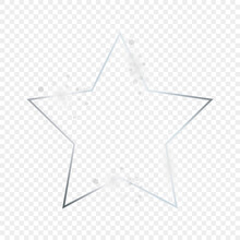 Silver Glowing Star Shape Frame With Sparkles
