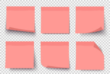 УсPink Note Paper Post On Transparent Grey Background. Sticker Set On Wall. Notepad. Vector Realistic 3d Illustration. Sticky Note Collection With Curled Corners And Shadows.тройства