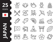 Japan Icons Set. Symbols In Simple Linear Style.