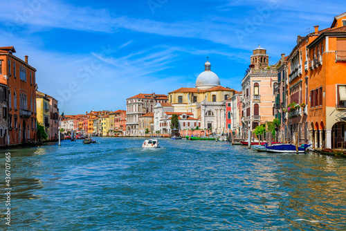 Canvas Grand Canal with gondola in Venice, Italy