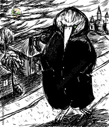 Fotografie, Obraz mystery - Black raven mutant in the city