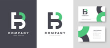 Flat Minimal Colorful Initial EB BE Logo With Premium Corporate Stylish Business Card Design Vector Template For Your Company Business