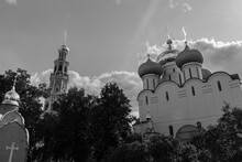 View Of The Cathedral Of Our Lady Of Smolensk And Octagonal Belltower At The Novodevichy Convent. Black And White Photo.