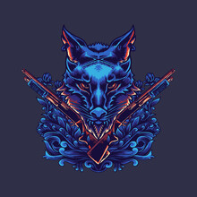 Wolf Hunter Vector Illustration Design With Suitable Ornaments For T-shirt Designs And Others