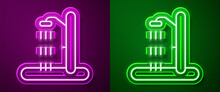 Glowing Neon Line Beach Shower Icon Isolated On Purple And Green Background. Vector