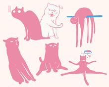 Set Of Funny Cats Characters Design, Quick Paint Doodle Style In Light Pastel Pink And Blue Color, Hilarious And Fun Pets Cartoon