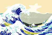 """""""The Great Wave In Kanagawa"""", Also Known As The Great Wave. Black And White Drawing"""