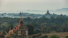 Sunrise Over Pagodas In Bagan, Myanmar.