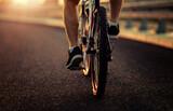 Mountain biker riding on bike in the city