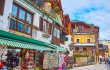 The Market Stalls In Hallstatt, Salzkammergut, Austria