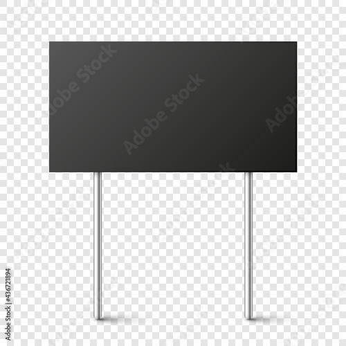 Canvastavla Black blank board with place for text, protest sign isolated on transparent background
