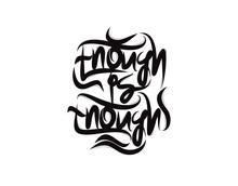 Enough Is Enough Lettering Text On White Background In Vector Illustration