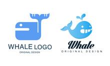 Whale Logo Design Set, Sealife, Summer Adventure, Company Identity Labels, Badges Flat Vector Illustration