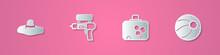 Set Paper Cut Elegant Women Hat, Water Gun, Suitcase And Beach Ball Icon. Paper Art Style. Vector