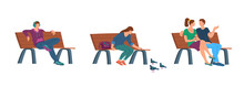 Cartoon Color Characters People Sitting On Bench Set Concept. Vector