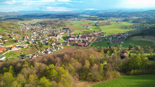 DRONE: Flying Around The Rural Town Of Sticna And Monastery On Sunny Spring Day.