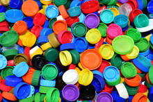 Plastic Bottle Caps For Recycling. Cap Material Of Plastic Recyclable Materials For Recycling And Reuse. Exchanging Garbage For Money. Reduse Garbage And Waste From Polypropylene And Polyethylene