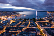 Aerial  Night View Of Geneva City Water Fountain In Switzerland