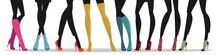 Vector Image Of Silhouettes Of Female Legs In Modern Stylish Shoes.