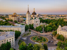 Evening Voronezh, Annunciation Cathedral, Aerial Drone View