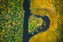 Aerial View Of Summer Curved River And Natural Island In Heart Shape. Landscape In Autumn Evening. Top View Of Beautiful Nature From High Attitude In Summer Season