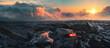 Leinwandbild Motiv Lava Field under sunset clouds on background