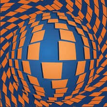 Abstract Checkered Background With Rectangles And Sphere