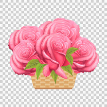 Pink Roses In A Basket. Beautiful Realistic  Red Flowers With Green Leaves. Springtime Summer Composition In Vintage Style. Bouquet For Birthday, Greeting Card, Wedding, Mother's Day. Vector EPS10