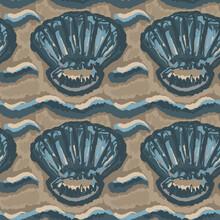 Beige Teal Tonal Linen Shell Motif Texture Background. Summer Coastal Living Style Home Decor Fabric Effect. Decorative Blue Sealife Textile Seamless Pattern