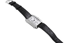 Fashionable Modern Wristwatch With Black Leather Straps On A Plain White Background