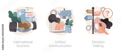 Enterprise communication abstract concept vector illustrations.