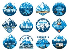 Mountain Climbing Icons, Rafting Expedition And Camping Vector Symbols. Tourist Tent, Kayak Or Canoe, Rafting Inflatable Boat And Compass, Mountain Snowy Peaks, Backpack And Car Camper Trailer